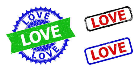 Bicolor LOVE seal stamps. Green and blue LOVE watermark with sharp rosette and ribbon. Rounded rough rectangle framed LOVE seal stamps in red, blue, black colors, with scratched style.