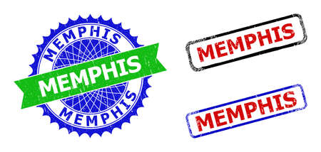 Bicolor MEMPHIS watermarks. Blue and green MEMPHIS stamp with sharp rosette and ribbon. Rounded rough rectangle framed MEMPHIS watermarks in red, blue, black colors, with grunged style.