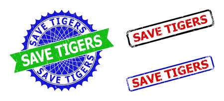 Bicolor SAVE TIGERS seal stamps. Blue and green SAVE TIGERS badge with sharp rosette and ribbon. Rounded rough rectangular framed SAVE TIGERS stamps in red, blue, black colors, with unclean surface.