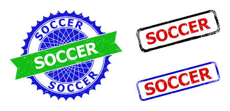Bicolor SOCCER watermarks. Green and blue SOCCER seal with sharp rosette and ribbon design elements. Rounded rough rectangle framed SOCCER watermarks in red, blue, black colors, with distress texture.