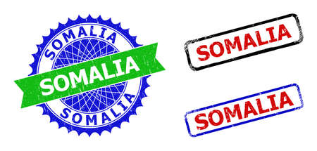 Bicolor SOMALIA seal stamps. Green and blue SOMALIA seal stamp with sharp rosette and ribbon. Rounded rough rectangular framed SOMALIA seal stamps in red, blue, black colors, with corroded style.