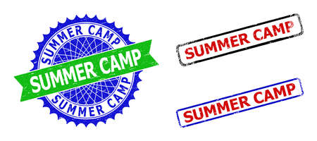 Bicolor SUMMER CAMP seal stamps. Green and blue SUMMER CAMP seal with sharp rosette and ribbon design elements. Rounded rough rectangle framed SUMMER CAMP seal stamps in red, blue, black colors,