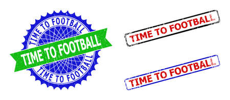 Bicolor TIME TO FOOTBALL seal stamps. Blue and green TIME TO FOOTBALL stamp with sharp rosette and ribbon. Rounded rough rectangle framed TIME TO FOOTBALL seal stamps in red, blue, black colors,