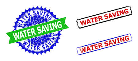 Bicolor WATER SAVING seal stamps. Green and blue WATER SAVING seal stamp with sharp rosette and ribbon design elements. Rounded rough rectangle framed WATER SAVING seal stamps in red, blue, Ilustracja