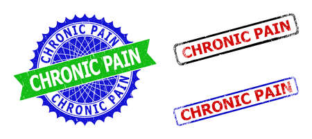 Bicolor CHRONIC PAIN seal stamps. Green and blue CHRONIC PAIN badge with sharp rosette and ribbon. Rounded rough rectangular framed CHRONIC PAIN seal stamps in red, blue, black colors,