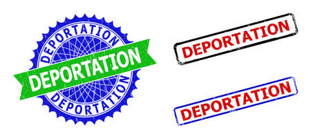 Bicolor DEPORTATION seals. Green and blue DEPORTATION seal with sharp rosette and ribbon. Rounded rough rectangle framed DEPORTATION seal stamps in red, blue, black colors, with corroded style. Illustration