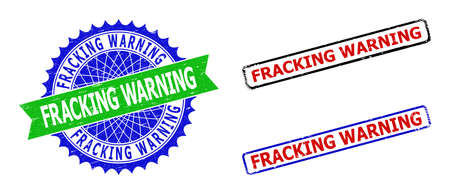 Bicolor FRACKING WARNING stamps. Green and blue FRACKING WARNING watermark with sharp rosette and ribbon design elements. Rounded rough rectangular framed FRACKING WARNING stamps in red, blue,