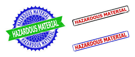 Bicolor HAZARDOUS MATERIAL seal stamps. Green and blue HAZARDOUS MATERIAL seal with sharp rosette and ribbon. Rounded rough rectangle framed HAZARDOUS MATERIAL seal stamps in red, blue, black colors,