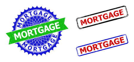Bicolor MORTGAGE stamps. Green and blue MORTGAGE seal with sharp rosette and ribbon design elements. Rounded rough rectangle framed MORTGAGE seal stamps in red, blue, black colors, with unclean style. Illustration