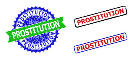 Bicolor PROSTITUTION badges. Blue and green PROSTITUTION stamp with sharp rosette and ribbon elements. Rounded rough rectangle framed PROSTITUTION badges in red, blue, black colors,