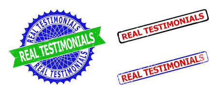 Bicolor REAL TESTIMONIALS seal stamps. Green and blue REAL TESTIMONIALS watermark with sharp rosette and ribbon elements. Rounded rough rectangle framed REAL TESTIMONIALS seal stamps in red, blue,