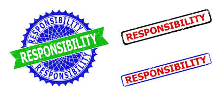 Bicolor RESPONSIBILITY seal stamps. Green and blue RESPONSIBILITY seal stamp with sharp rosette and ribbon. Rounded rough rectangle framed RESPONSIBILITY stamps in red, blue, black colors,