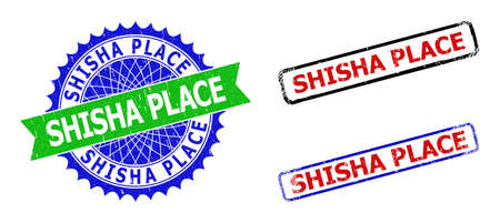 Bicolor SHISHA PLACE seal stamps. Green and blue SHISHA PLACE seal with sharp rosette and ribbon elements. Rounded rough rectangle framed SHISHA PLACE seal stamps in red, blue, black colors,