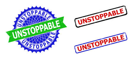 Bicolor UNSTOPPABLE seals. Blue and green UNSTOPPABLE seal with sharp rosette and ribbon design elements. Rounded rough rectangle framed UNSTOPPABLE seals in red, blue, black colors,