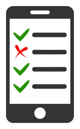 Mobile check list icon with flat style. Isolated vector mobile check list icon illustrations, simple style.
