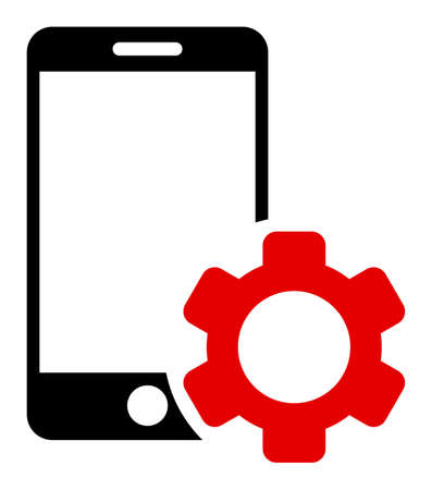 Smartphone repair gear icon with flat style. Isolated vector smartphone repair gear icon image, simple style.