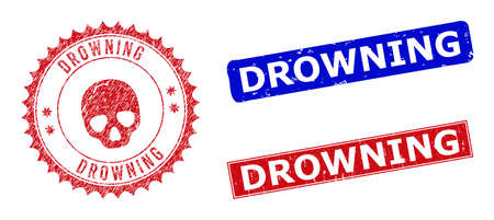 Rectangle and round DROWNING seal stamps with icon inside. Blue and red scratched seal stamps with DROWNING message inside rectangle shapes. Rosette badge includes icon inside.
