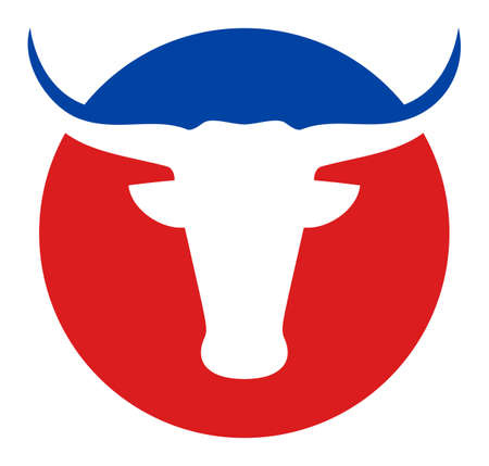 American cow icon with flat style. Isolated raster american cow icon image, simple style.