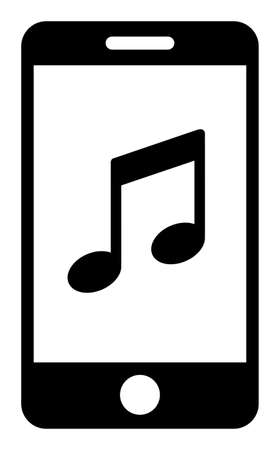 Smartphone music icon with flat style. Isolated raster smartphone music icon illustrations, simple style.