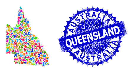 Australian Queensland map abstraction. Blot mosaic and rubber seal for Australian Queensland map. Sharp rosette blue stamp seal with caption for Australian Queensland map.