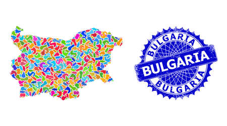 Bulgaria map vector image. Blot mosaic and unclean mark for Bulgaria map. Sharp rosette blue mark with tag for Bulgaria map. Mosaic vector Bulgaria map is created from random colored spots.
