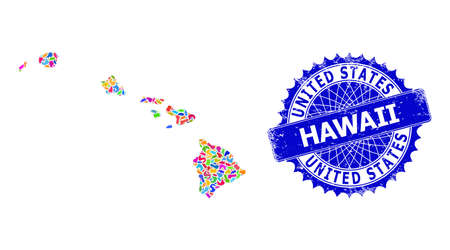 Hawaii State map vector image. Spot pattern and unclean stamp seal for Hawaii State map. Sharp rosette blue stamp seal with caption for Hawaii State map.
