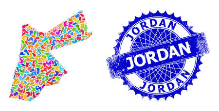 Jordan map template. Spot collage and scratched stamp seal for Jordan map. Sharp rosette blue seal with text for Jordan map. Collage vector Jordan map composed with random colored spots.