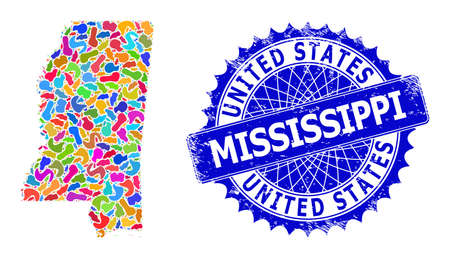 Mississippi State map vector image. Spot mosaic and unclean stamp for Mississippi State map. Sharp rosette blue stamp seal with tag for Mississippi State map.