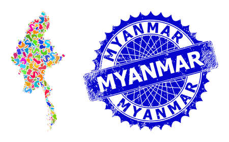 Myanmar map vector image. Spot collage and distress seal for Myanmar map. Sharp rosette blue stamp seal with tag for Myanmar map. Mosaic vector Myanmar map created with randomized colored spots.