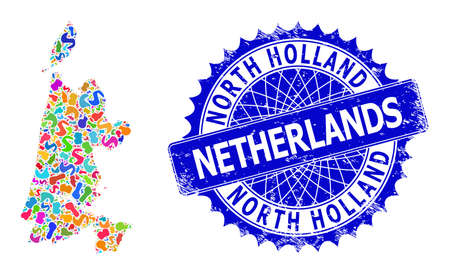 North Holland map vector image. Blot collage and distress mark for North Holland map. Sharp rosette blue seal with tag for North Holland map.