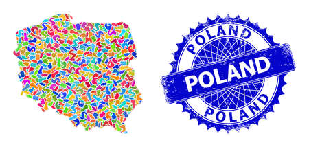 Poland map vector image. Splash collage and scratched watermark for Poland map. Sharp rosette blue badge with text for Poland map. Collage vector Poland map created from scattered colored splashes. Vectores