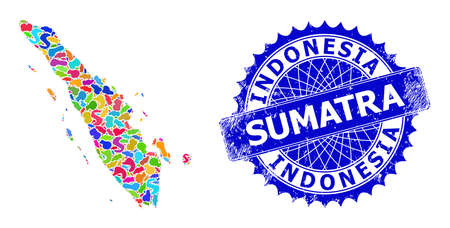 Sumatra map vector image. Blot mosaic and unclean seal for Sumatra map. Sharp rosette blue stamp with caption for Sumatra map. Mosaic vector Sumatra map is created with scattered multi-colored blots.