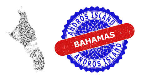 Melody Notes Collage for Andros Island of Bahamas Map and Bicolor Textured Seal