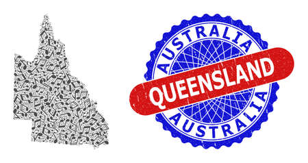 Musical Collage for Australian Queensland Map and Bicolor Textured Seal Stamp