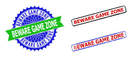 Bicolor BEWARE GAME ZONE seal stamps. Green and blue BEWARE GAME ZONE seal stamp with sharp rosette and ribbon. Rounded rough rectangle framed BEWARE GAME ZONE stamps. Vecteurs