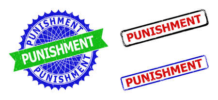 Bicolor PUNISHMENT seal stamps. Blue and green PUNISHMENT seal stamp with sharp rosette and ribbon design elements. Rounded rough rectangular framed PUNISHMENT seal stamps.