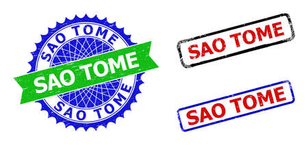 Bicolor SAO TOME seal stamps. Blue and green SAO TOME seal stamp with sharp rosette and ribbon elements. Rounded rough rectangle framed SAO TOME stamps in red, blue, black colors, with grunge style.