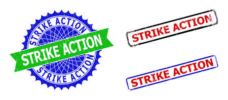 Bicolor STRIKE ACTION watermarks. Green and blue STRIKE ACTION stamp with sharp rosette and ribbon. Rounded rough rectangle framed STRIKE ACTION watermarks.