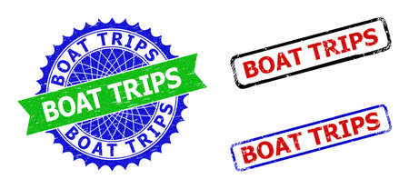 Bicolor BOAT TRIPS seal stamps. Blue and green BOAT TRIPS seal with sharp rosette and ribbon design elements. Rounded rough rectangular framed BOAT TRIPS seal stamps in red, blue, black colors,