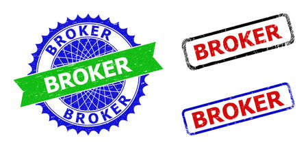 Bicolor BROKER seal stamps. Blue and green BROKER watermark with sharp rosette and ribbon. Rounded rough rectangle framed BROKER seal stamps in red, blue, black colors, with unclean surface.