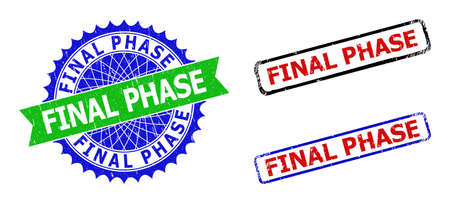 Bicolor FINAL PHASE seal stamps. Green and blue FINAL PHASE stamp with sharp rosette and ribbon design elements. Rounded rough rectangular framed FINAL PHASE seal stamps in red, blue, black colors,