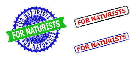 Bicolor FOR NATURISTS seal stamps. Green and blue FOR NATURISTS seal stamp with sharp rosette and ribbon. Rounded rough rectangular framed FOR NATURISTS stamps in red, blue, black colors,