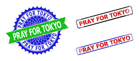 Bicolor PRAY FOR TOKYO stamps. Green and blue PRAY FOR TOKYO badge with sharp rosette and ribbon. Rounded rough rectangular framed PRAY FOR TOKYO seal stamps in red, blue, black colors,