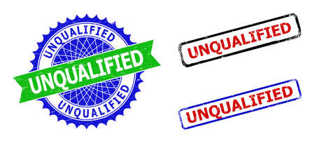Bicolor UNQUALIFIED badges. Blue and green UNQUALIFIED seal with sharp rosette and ribbon elements. Rounded rough rectangular framed UNQUALIFIED badges in red, blue, black colors, Vektoros illusztráció