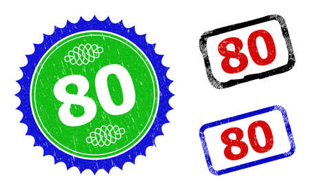 Bicolor 80 seal stamps. Green and blue 80 seal with sharp rosette and ribbon design elements. Rounded rough rectangular framed 80 stamps in red, blue, black colors, with distress style.