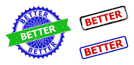 Bicolor BETTER seal stamps. Blue and green BETTER seal stamp with sharp rosette and ribbon design elements. Rounded rough rectangle framed BETTER seal stamps in red, blue, black colors,