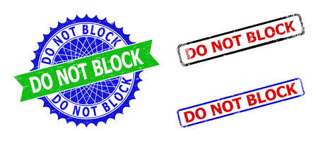 Bicolor DO NOT BLOCK stamps. Blue and green DO NOT BLOCK seal with sharp rosette and ribbon. Rounded rough rectangle framed DO NOT BLOCK stamps in red, blue, black colors, with unclean surface.