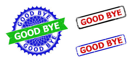 Bicolor GOOD BYE seal stamps. Green and blue GOOD BYE badge with sharp rosette and ribbon elements. Rounded rough rectangular framed GOOD BYE seal stamps in red, blue, black colors,