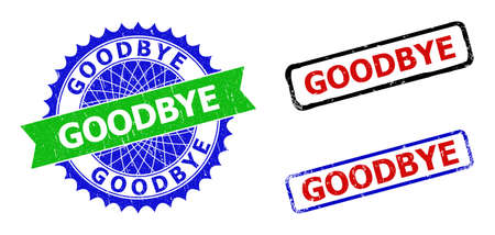 Bicolor GOODBYE seal stamps. Blue and green GOODBYE seal stamp with sharp rosette and ribbon. Rounded rough rectangular framed GOODBYE seal stamps in red, blue, black colors, with scratched style. Ilustracje wektorowe