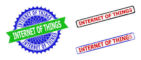 Bicolor INTERNET OF THINGS seals. Blue and green INTERNET OF THINGS seal with sharp rosette and ribbon design elements. Rounded rough rectangular framed INTERNET OF THINGS seal stamps in red, blue,